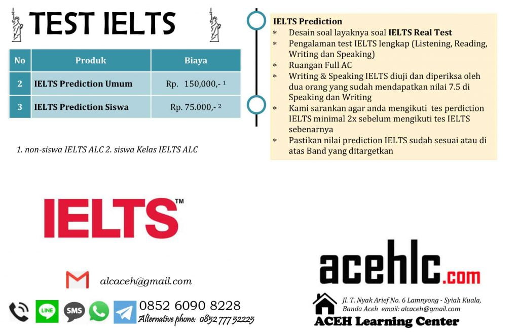 IELTS Prediction Test di Aceh Learning Center (AcehLC/ALC)